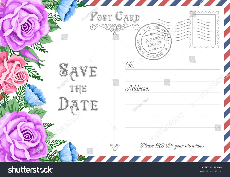 Vintage Postcard Wedding Invitation Template Flowers Stock ...