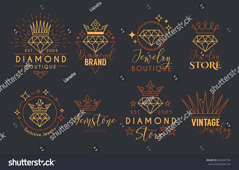 Jewelry Logo Set Label Template Jewelry Stock Vector 662841574 ...