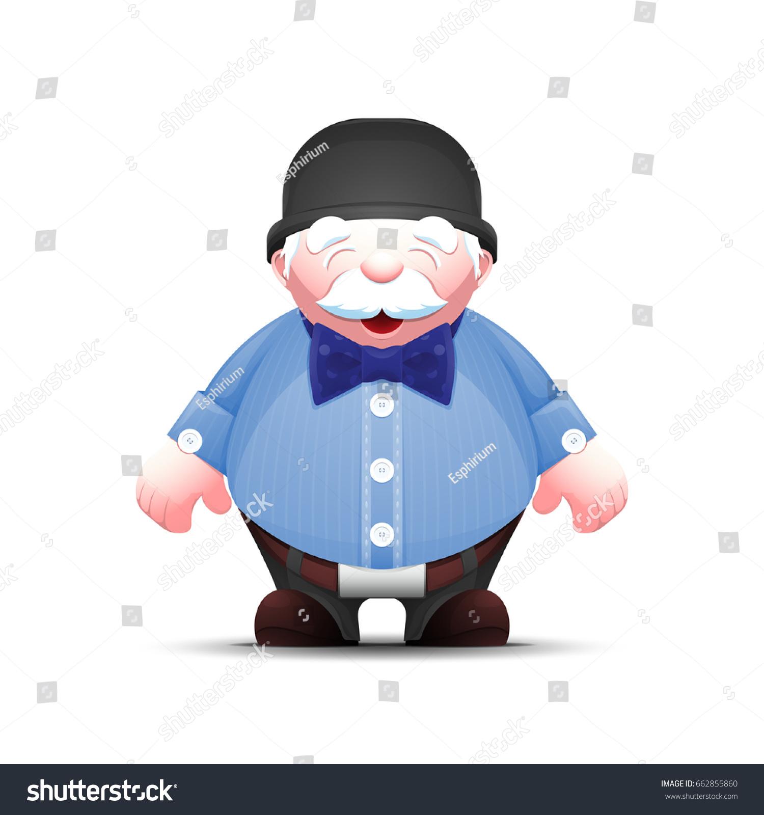 Elegant Cartoon Old Man Bowler Hat Stock Vector Royalty Free