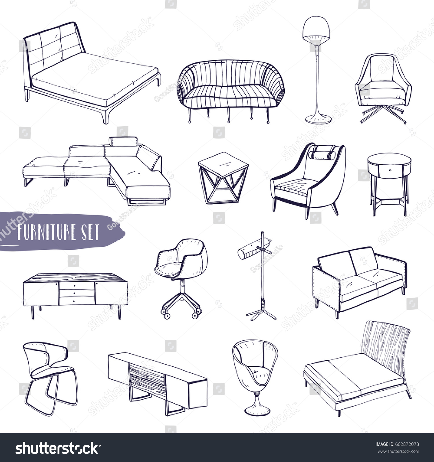 Set Various Furniture Hand Drawn Different Stock Vector