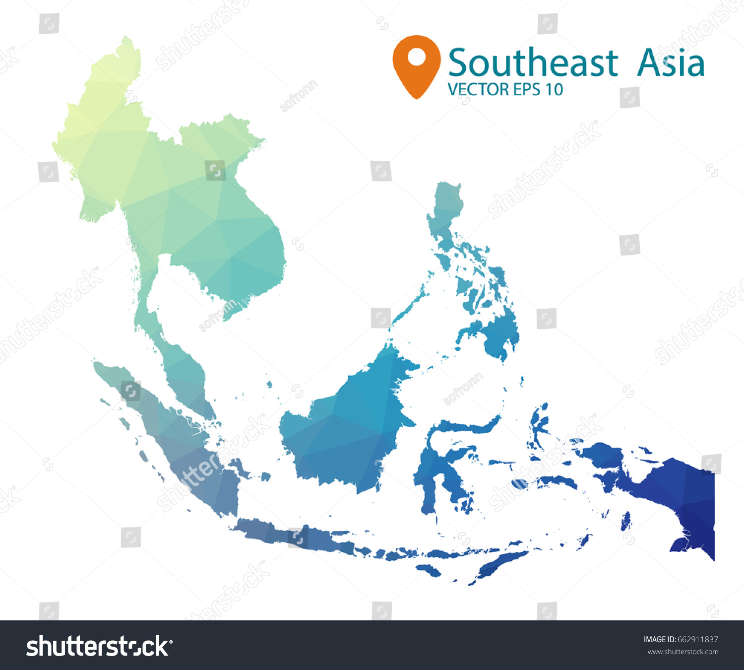 South East Asia Map Blue Geometric Stock Vector (Royalty Free ...