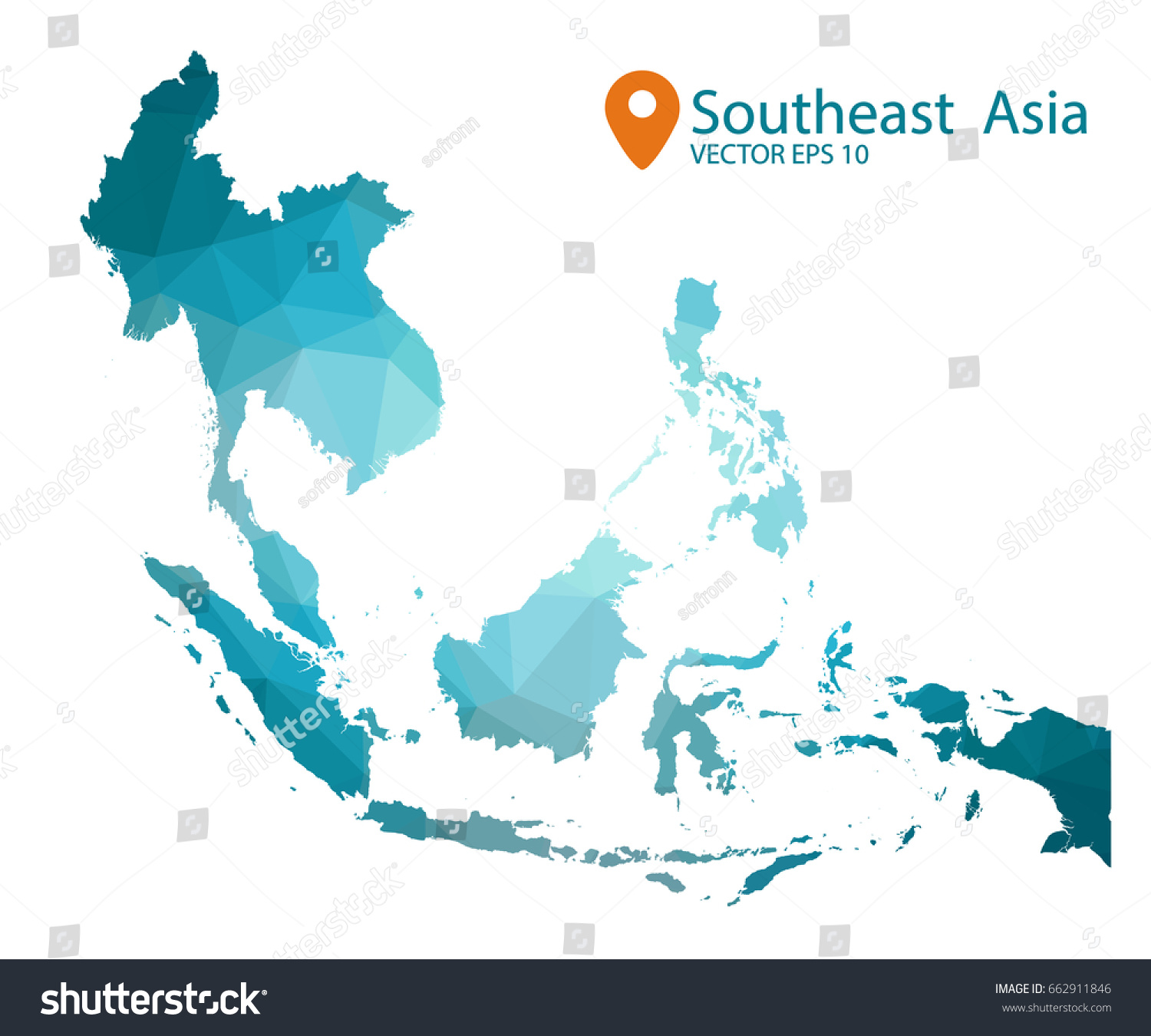 South east asia map blue geometric stock vector 662911846 shutterstock south east asia map blue geometric rumpled triangular low poly style gradient graphic background gumiabroncs Images