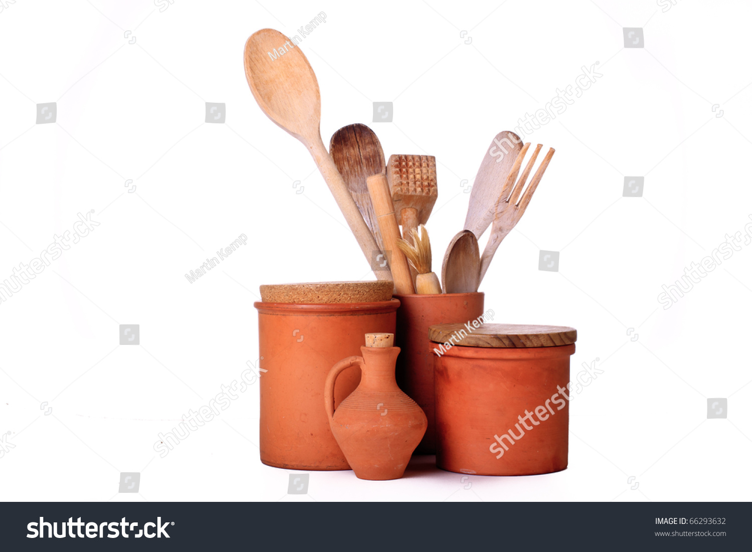 Group Terracotta Kitchen Containers Wooden Utensils Stock Photo ...