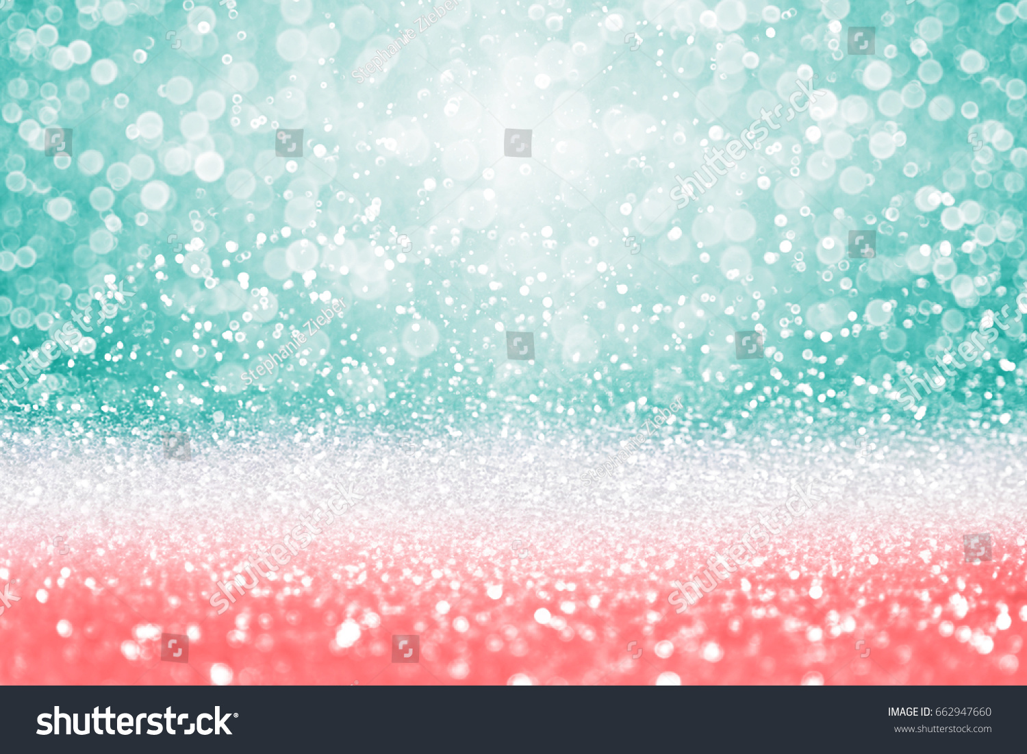 Abstract Teal Green Glitter Coral Pink Stock Photo ...