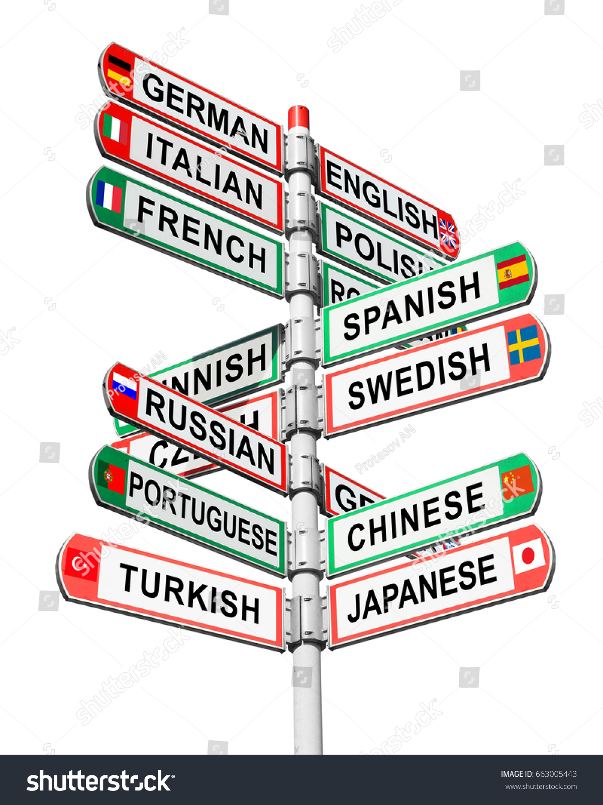 Directional multilingual signs isolated on white stock photo directional multilingual signs isolated on white background arrows with a various name languages and national biocorpaavc Choice Image