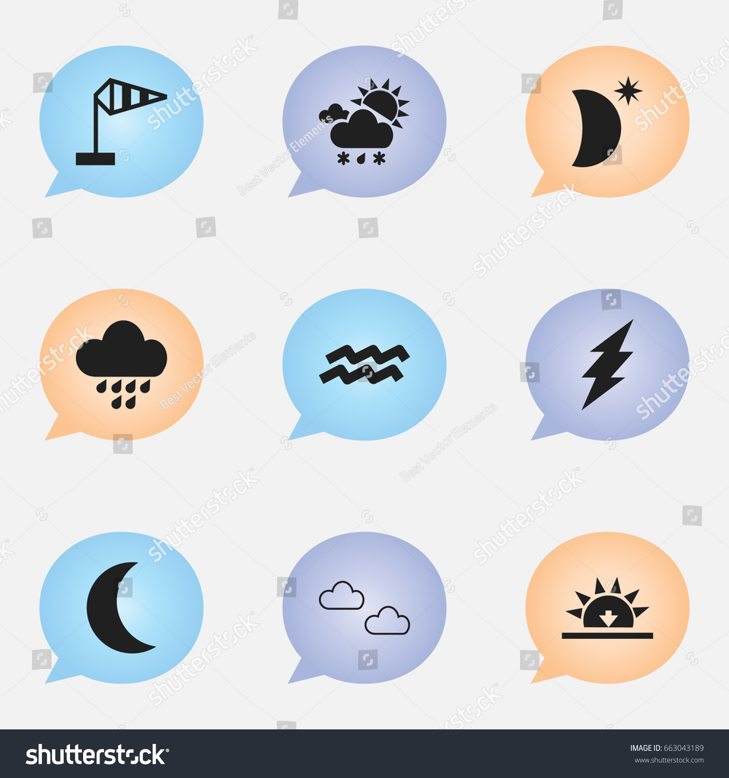 Set 9 Editable Weather Icons Includes Stock Vector Royalty Free