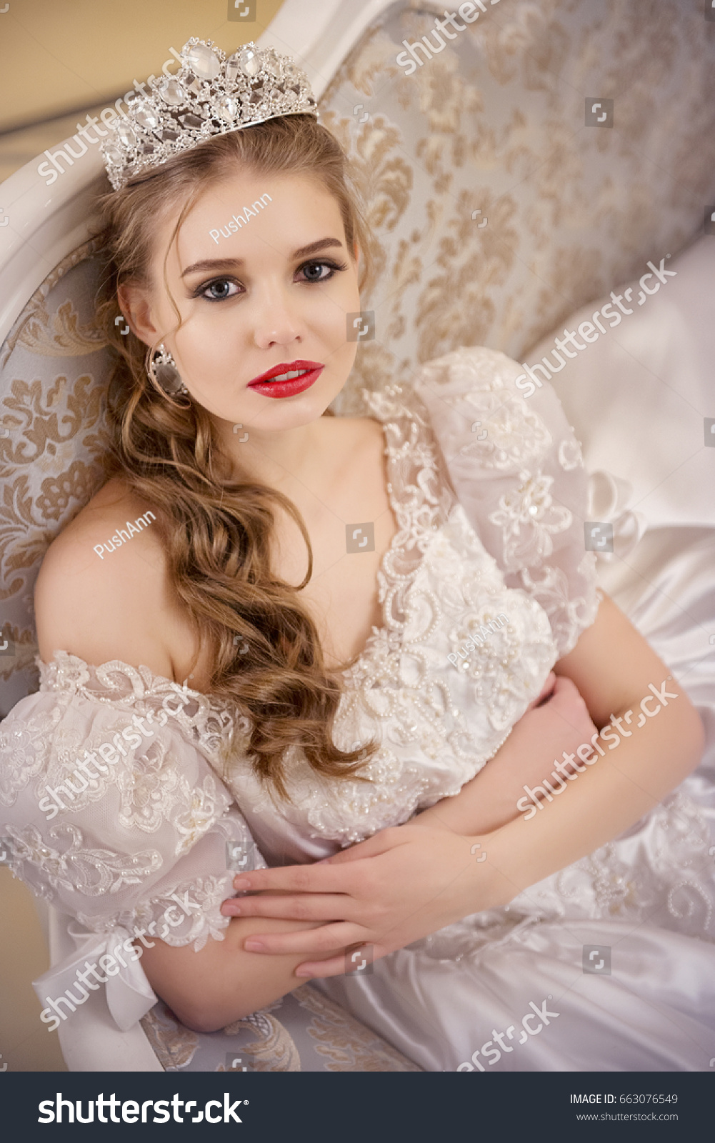 Portrait Girl Wedding Dress Crown On Stock Photo (Royalty Free ...