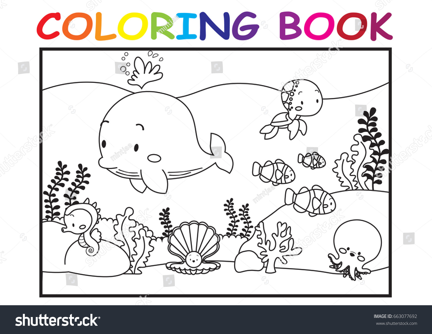 kids coloring page cute sea animal stock vector 663077692