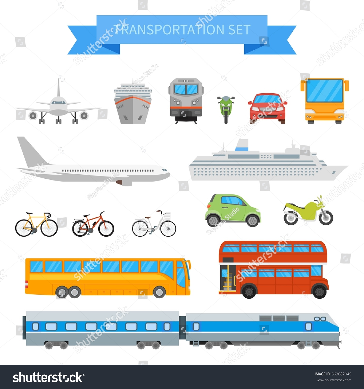vector set different transportation vehicles isolated stock vector
