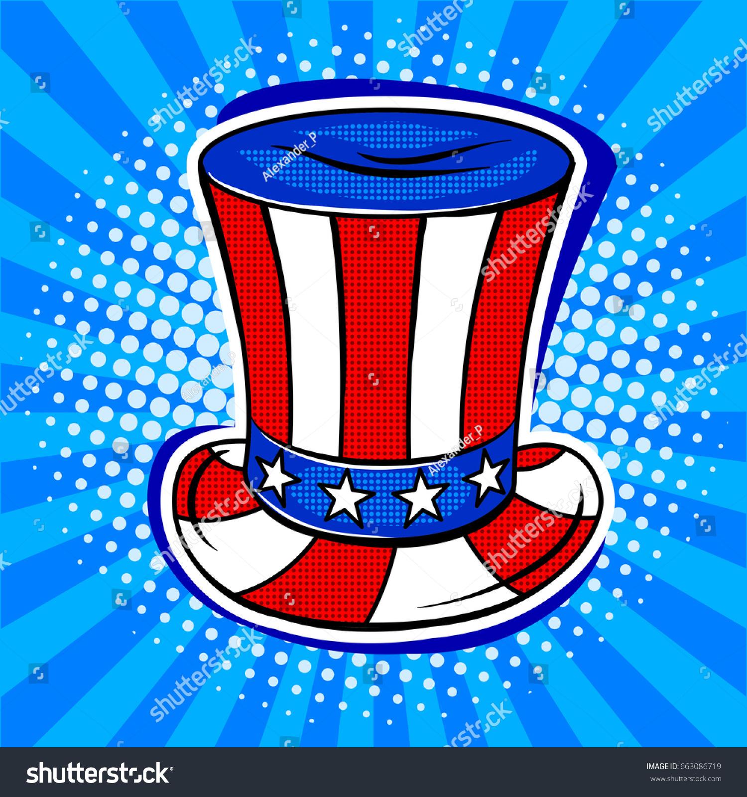 Hat Coloring American Flag Pop Art Stock Vector 663086719 - Shutterstock