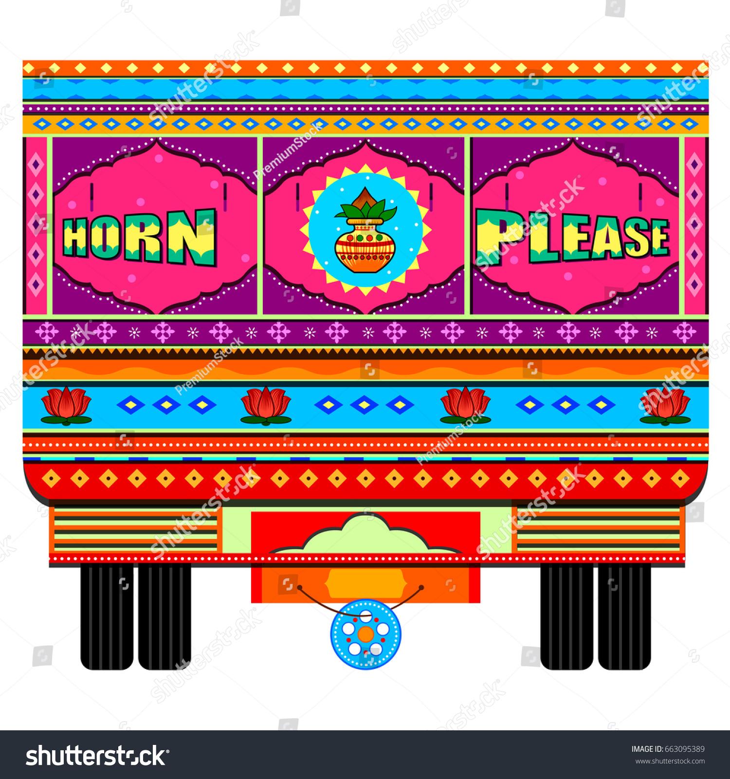 Vector Design Truck India Indian Art Stock Vector Royalty Free 663095389