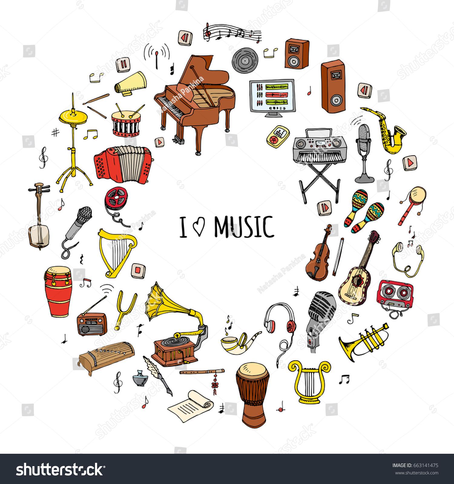 Hand Drawn Doodle Love Music Set Stock Vector 663141475 Shutterstock
