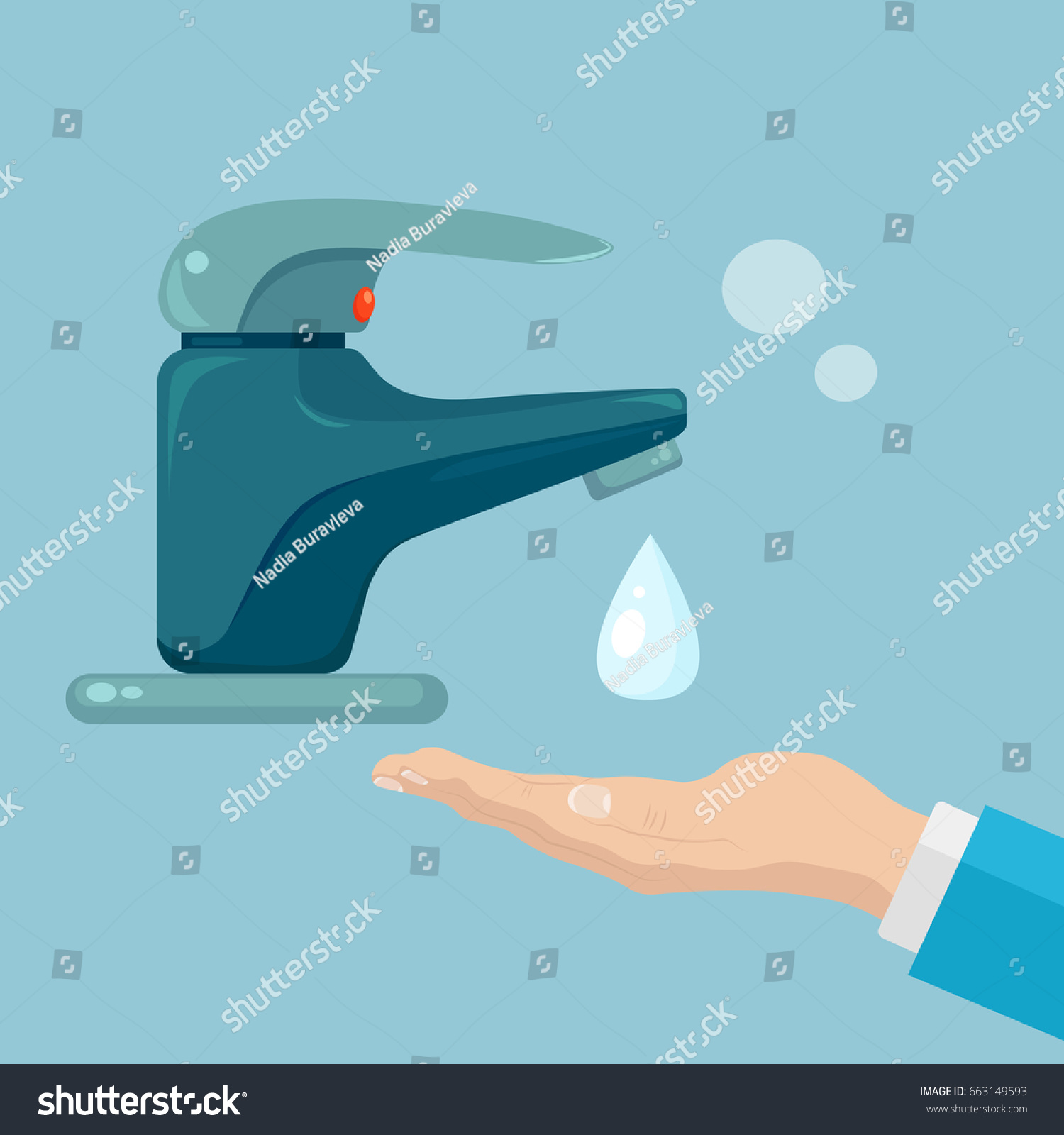 Faucet Tap Drop Water Isolated On Stock Vector HD (Royalty Free ...