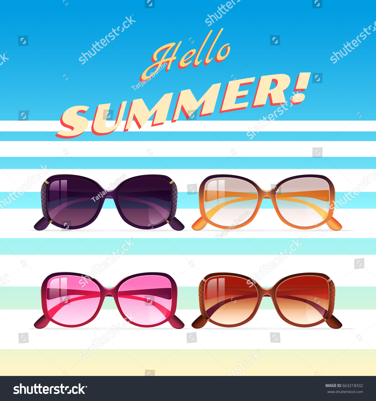 Hello Summer Illustration. Hello Summer Text Title. Poster Design With  Realistic Vector Sunglasses In