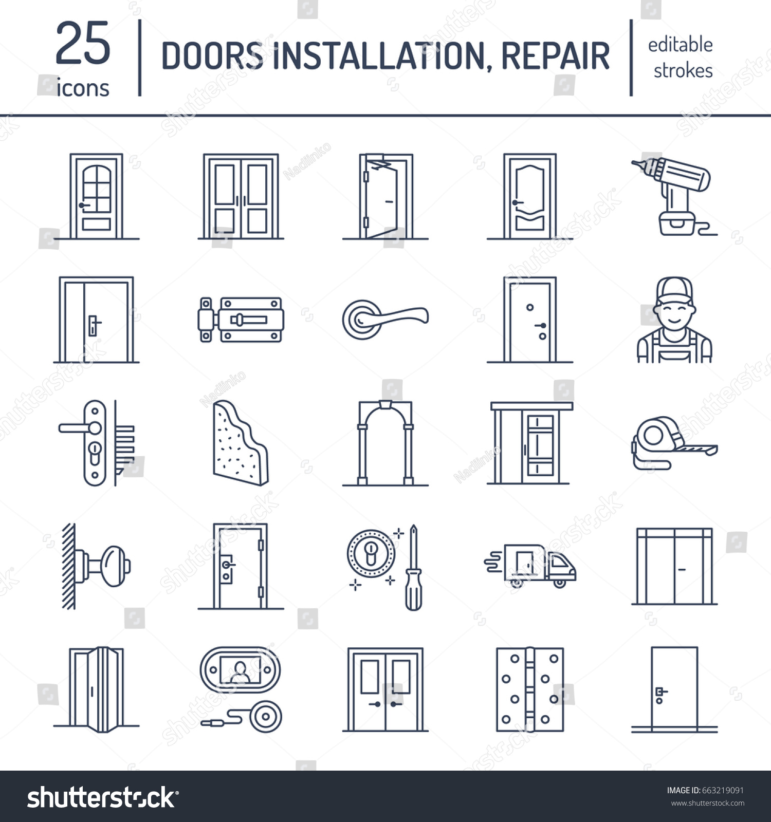 Doors installation repair line icons handle stock vector 663219091 shutterstock for Interior doors installation services