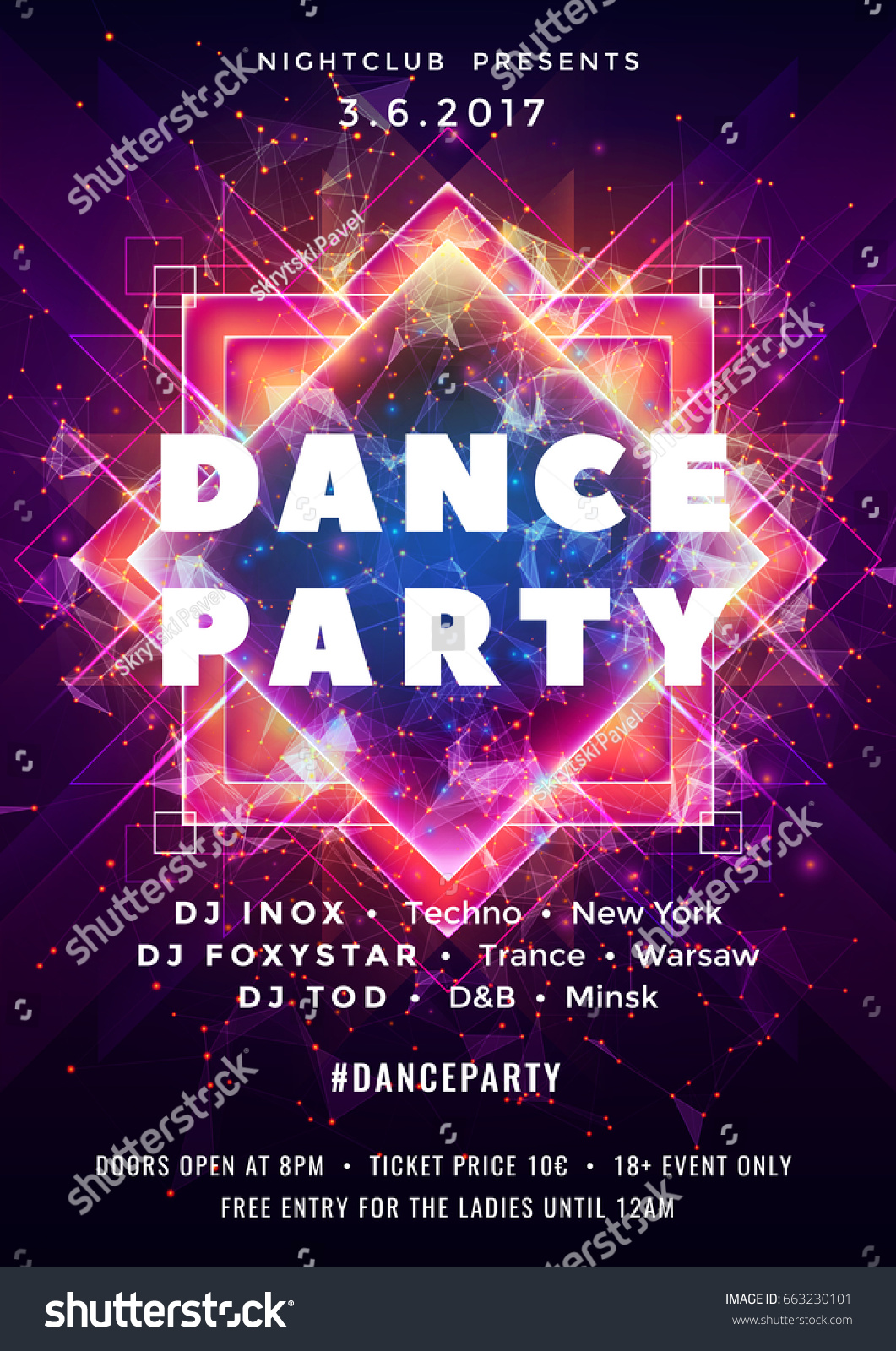 dance party poster vector background template stock vector