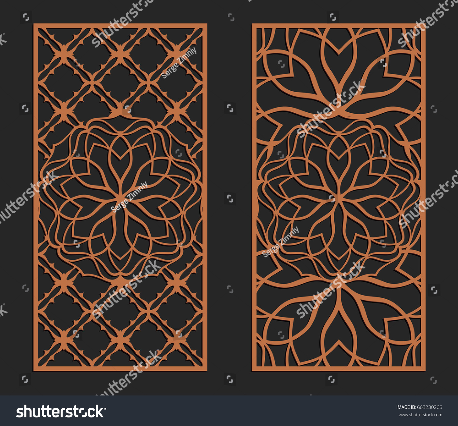 Cut Out Decorative Wall Panels : Laser cutting set wall panels jigsaw stock vector