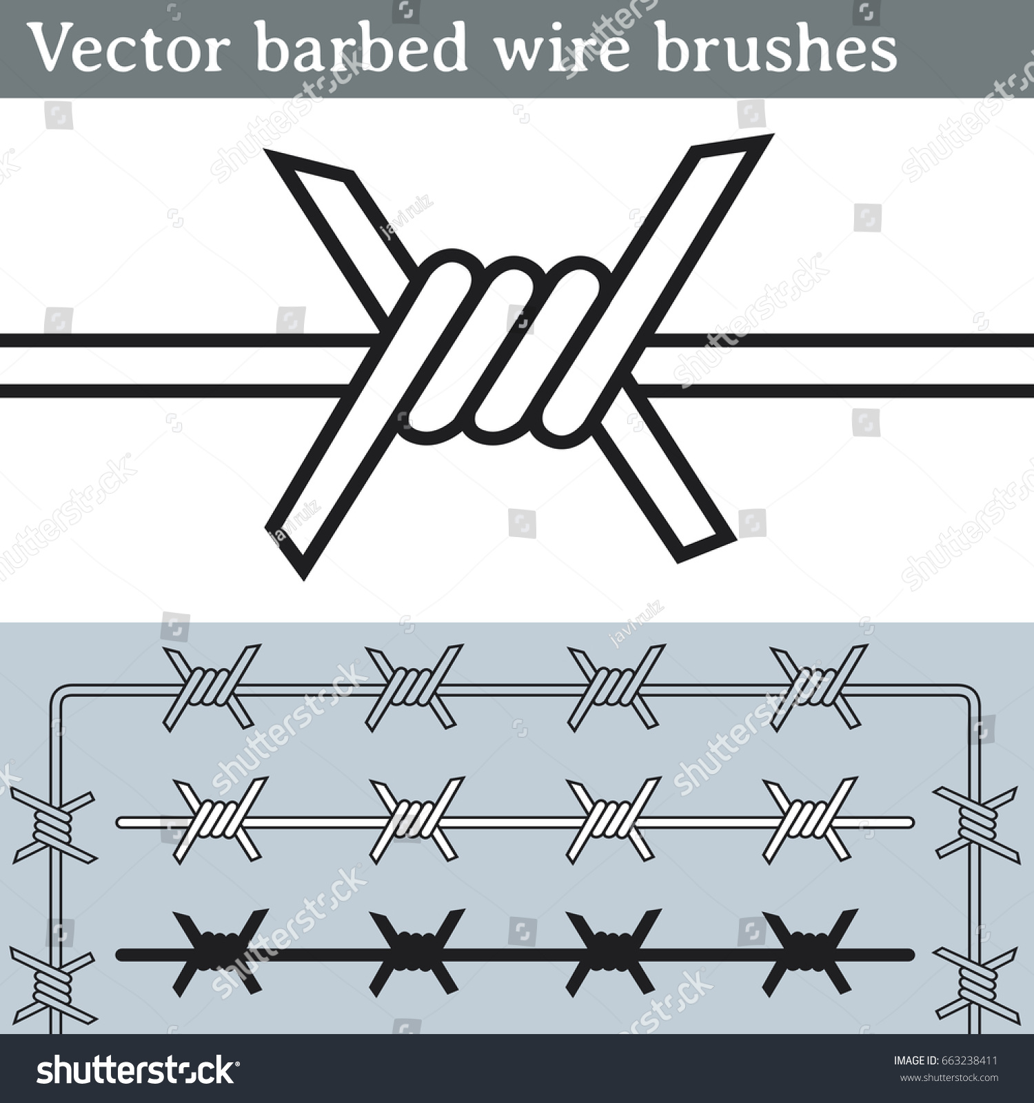 Barbed wire vector brush - Vector Barbed Wire Brushes Brushes For Illustrator To Draw Barbed Wire Three Different Versions
