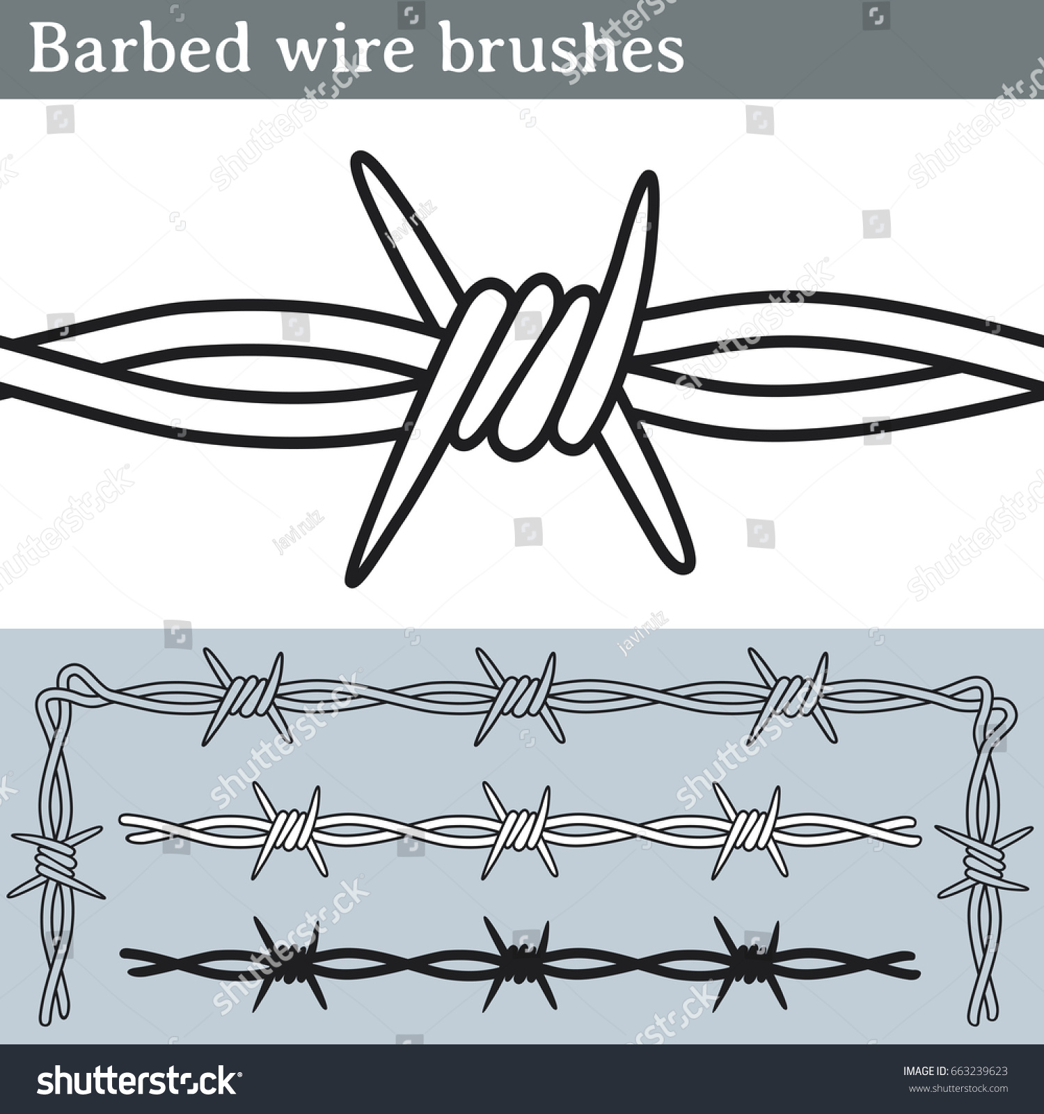 Barbed Wire Brushes Brushes Illustrator Draw Stock Vector 663239623 ...