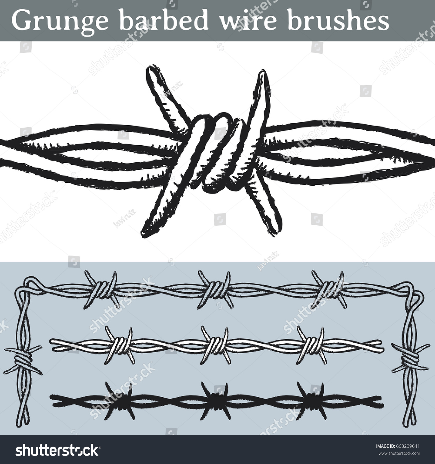 Grunge Barbed Wire Brushes Brushes Illustrator Stock Vector ...