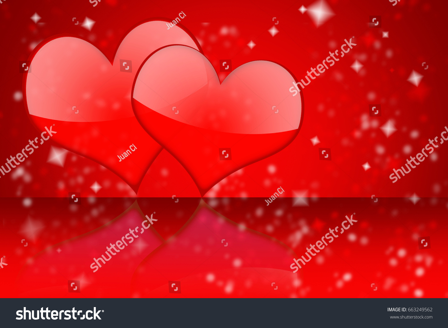 Two Red Hearts Some Sparks Reflected Stock Illustration 663249562