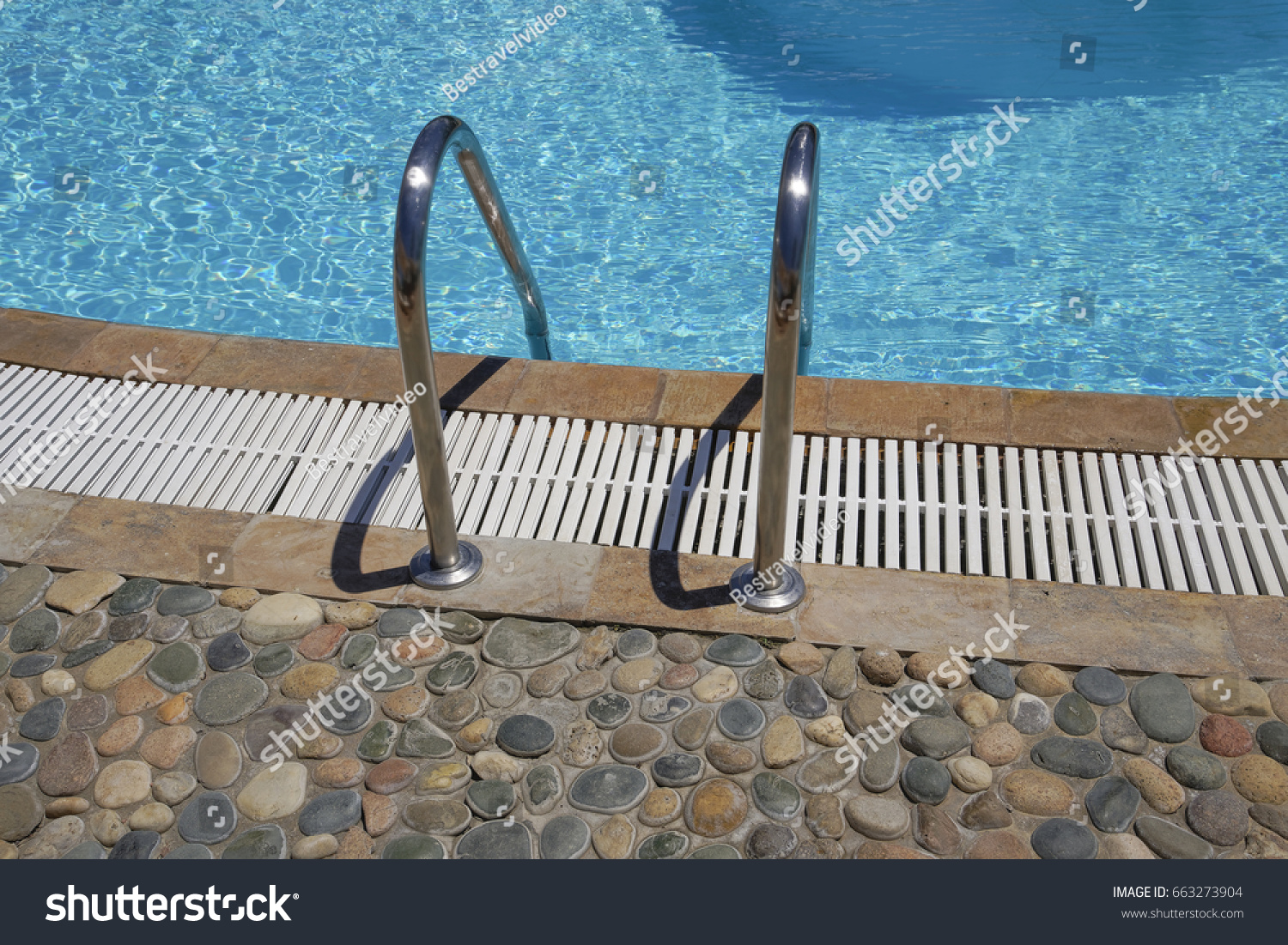 Outdoor Swimming Pool Ladder Grab Bars Stock Photo 663273904 ...