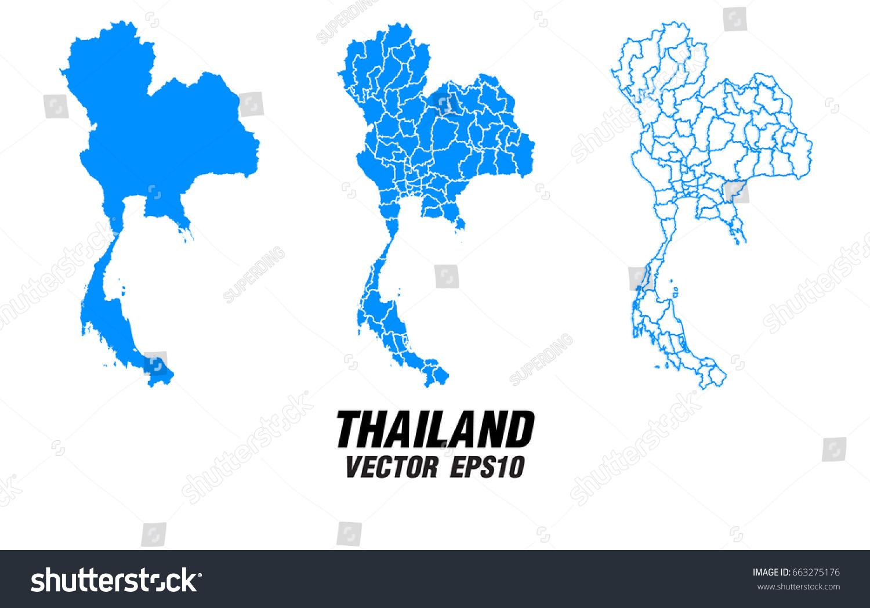 Set Vector Maps Vector Map Thailand Vector Stock Vector (Royalty ...