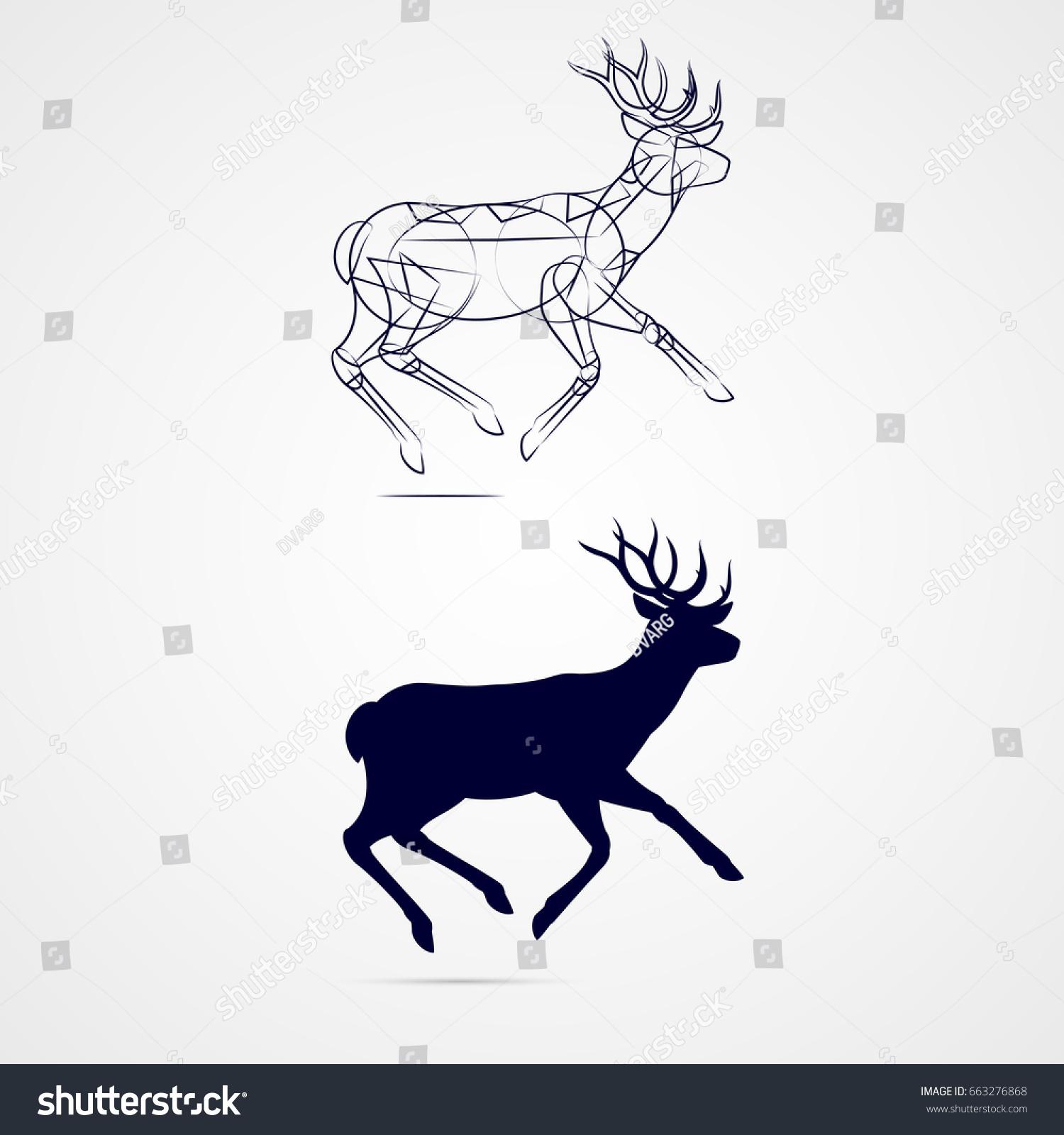 running horned deer silhouette sketch template stock vector