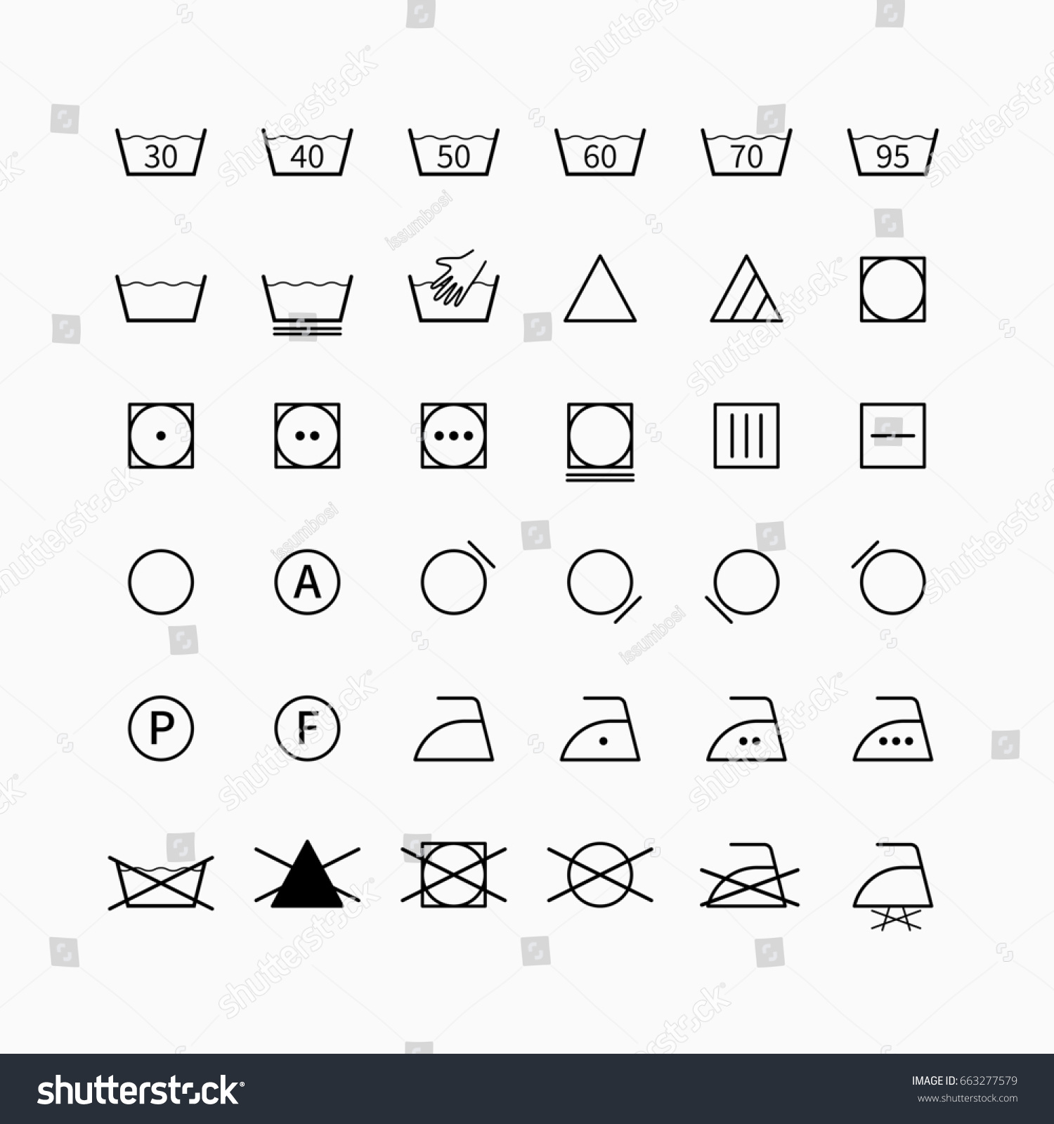 Laundry Drycleaning Symbols Set Garment Clothing Stock Illustration
