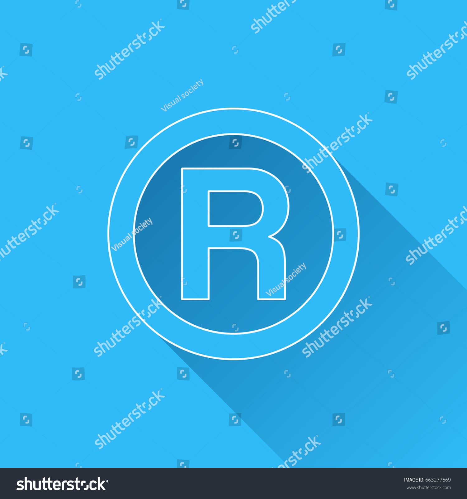 R registered trademark symbol long shadow stock vector 663277669 r registered trademark symbol with long shadow and white outline on blue background blue biocorpaavc Gallery