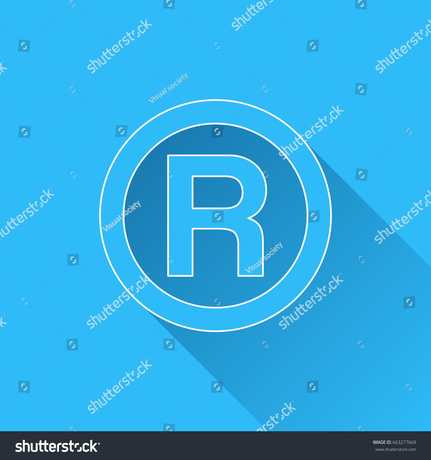 R Registered Trademark Symbol Long Shadow Stock Vector Royalty Free