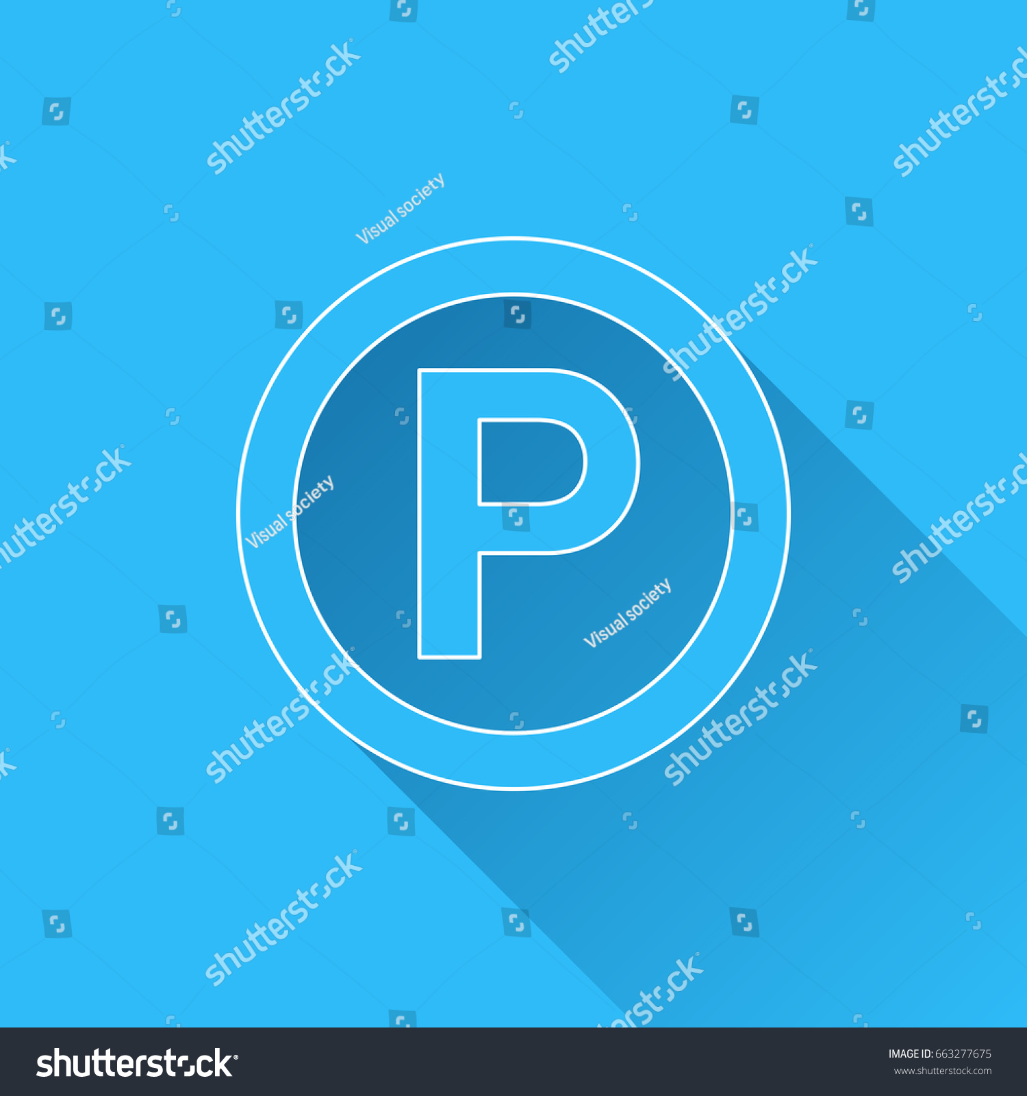 P sound recording copyright symbol long stock vector 663277675 p sound recording copyright symbol with long shadow and white outline on blue background biocorpaavc