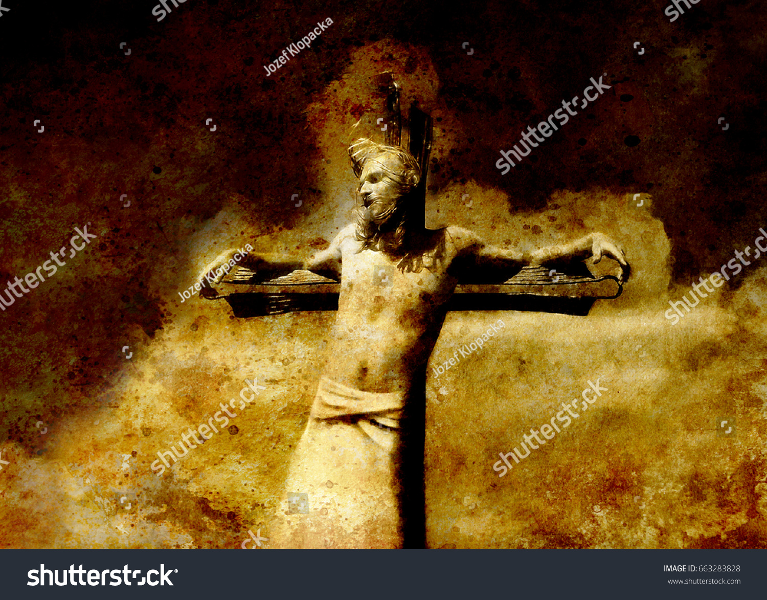 interpretation jesus on cross graphic painting stock illustration