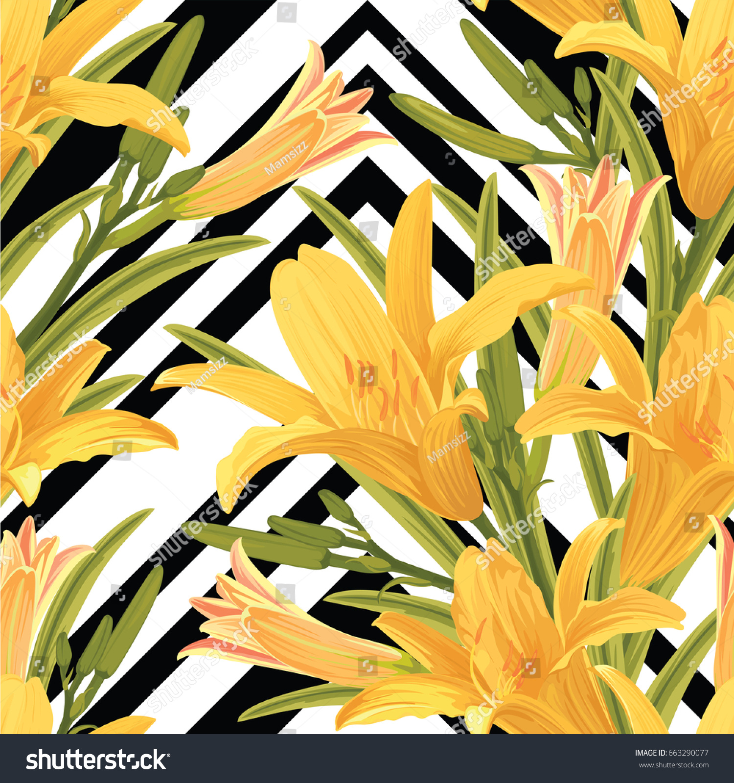 Seamless Pattern Lilies Flower Leaves On Stock Vector 663290077