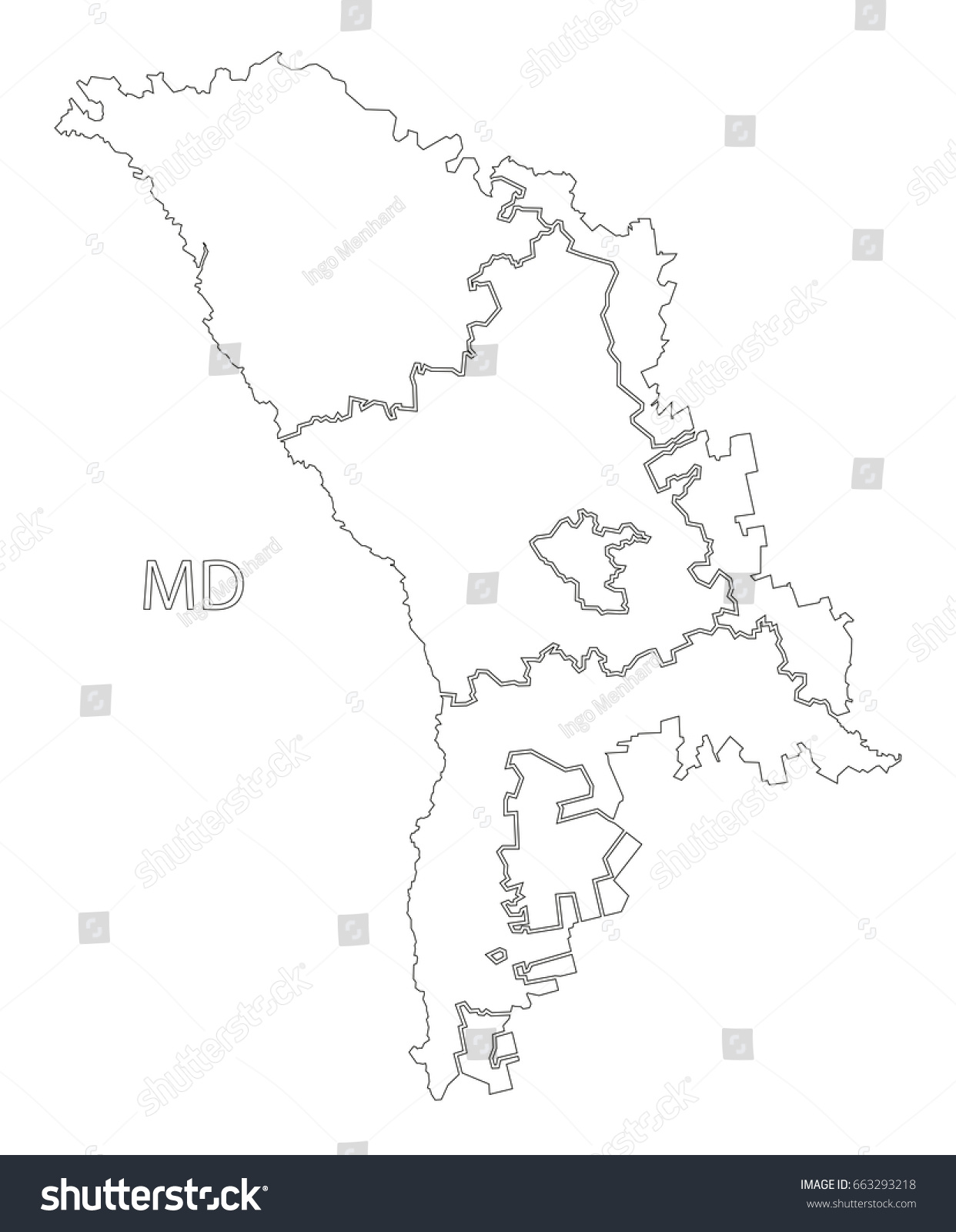 Moldova Districts Outline Silhouette Map Illustration Stock Vector - Moldova map outline