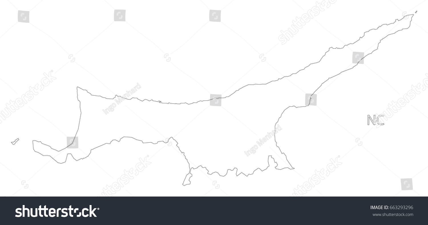 Northern Cyprus Outline Silhouette Map Illustration Stock Vector - Cyprus blank map