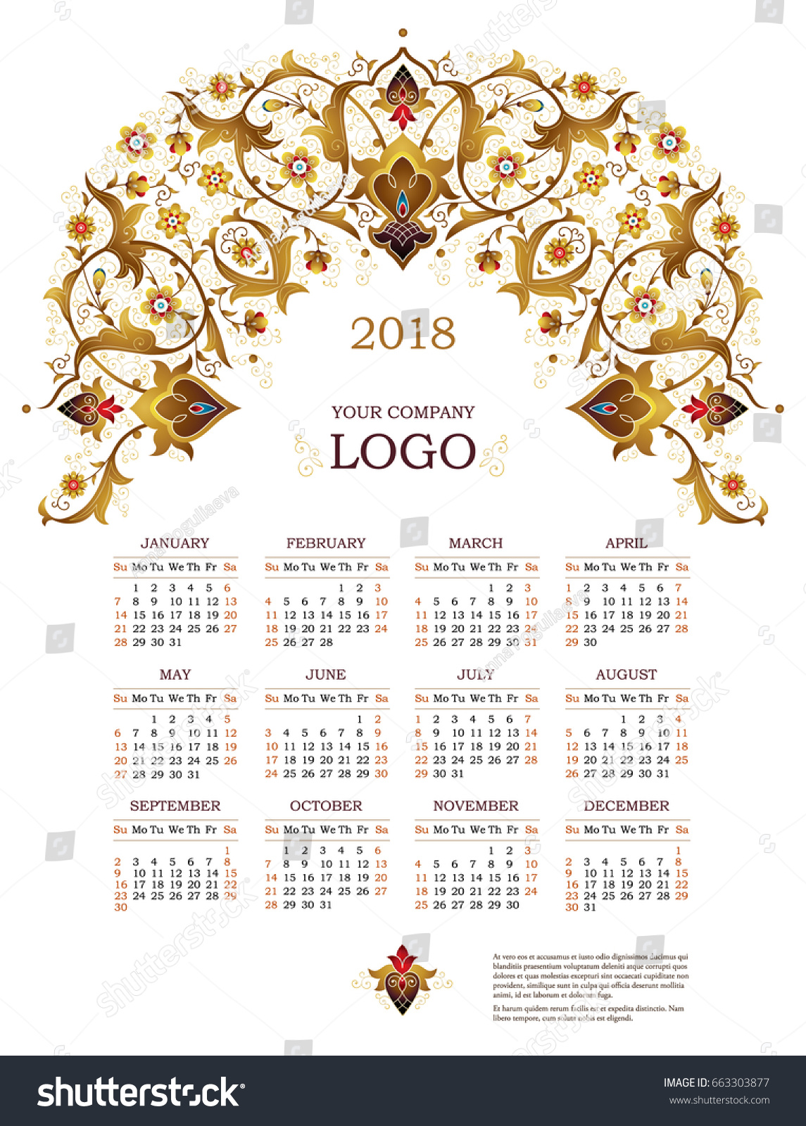 Calendar Vintage Vector : Vector calendar ornate decorated stock