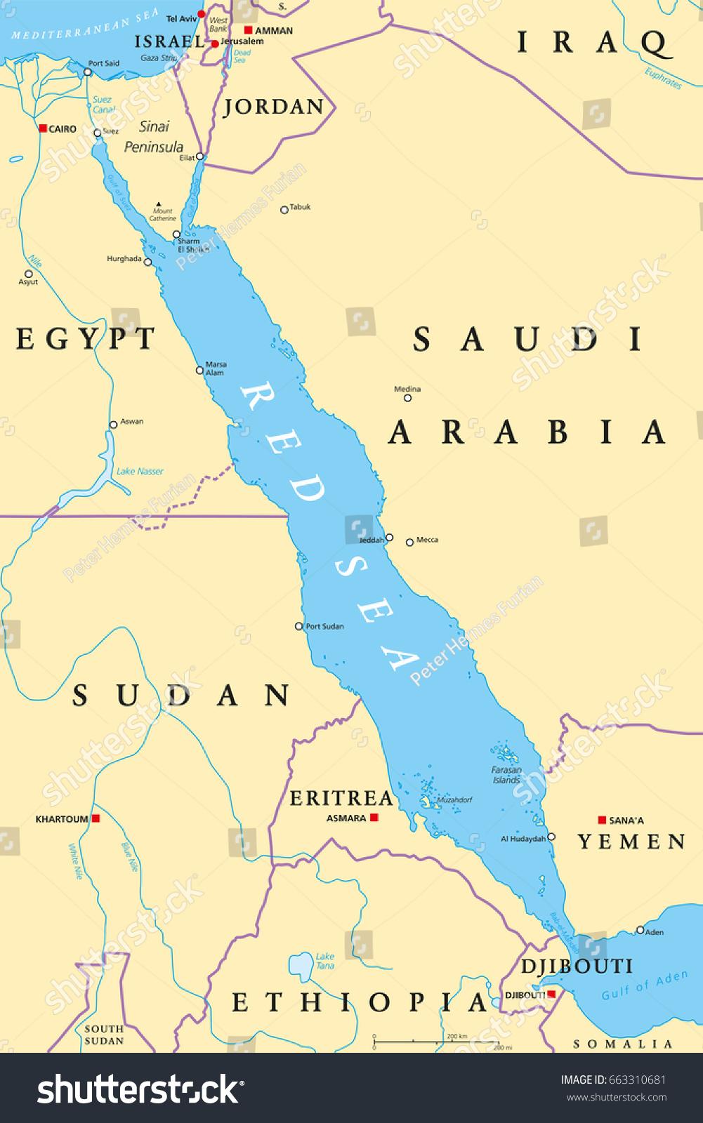 Red Sea Region Political Map Capitals Stock Photo Photo Vector