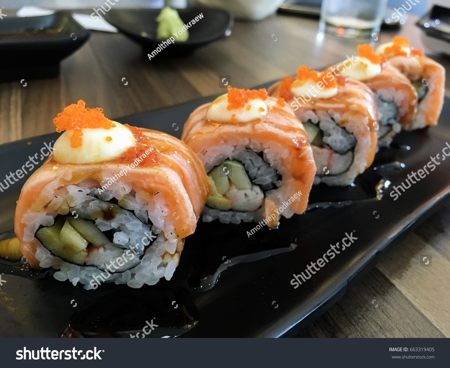 Grilled Salmon Sushi Roll Japanese Food Stock Photo Edit Now 663319405