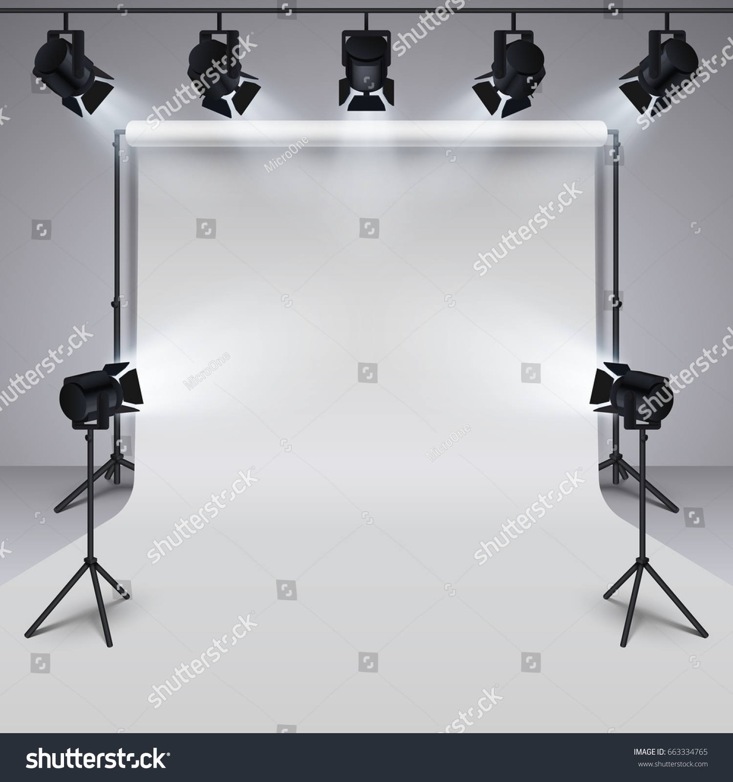 Lighting equipment and professional photography studio white blank background. 3d vector illustration. Studio for & Lighting Equipment Professional Photography Studio White Stock ... azcodes.com