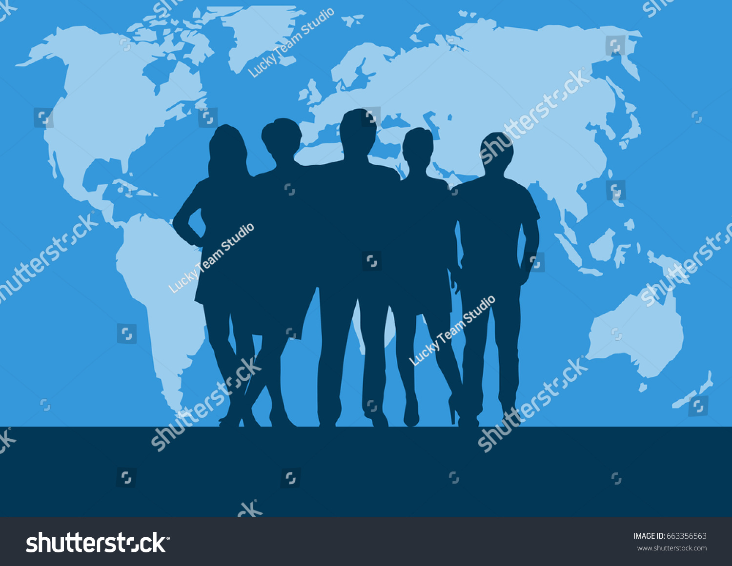 People on world map vector poster stock vector 663356563 people on world map vector poster and background teamwork and business concept gumiabroncs Choice Image