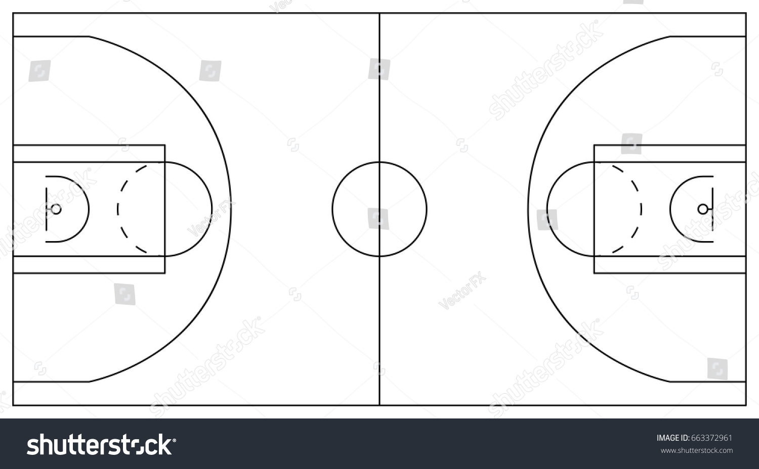 Basketball court plan lines areas center stock vector for Basketball court plan
