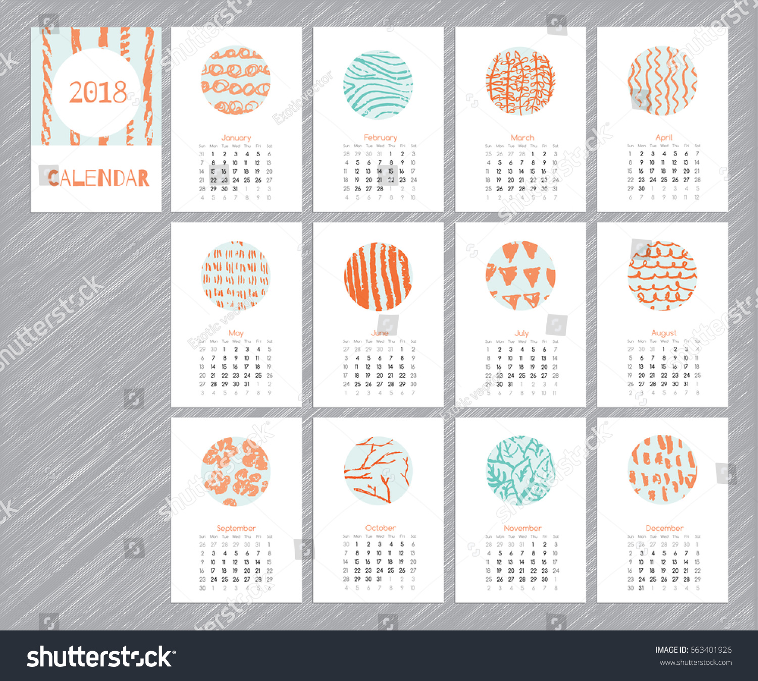 Calendar 2018 With Hand Drawn Textures Unique Design For Each Month Vector Planner