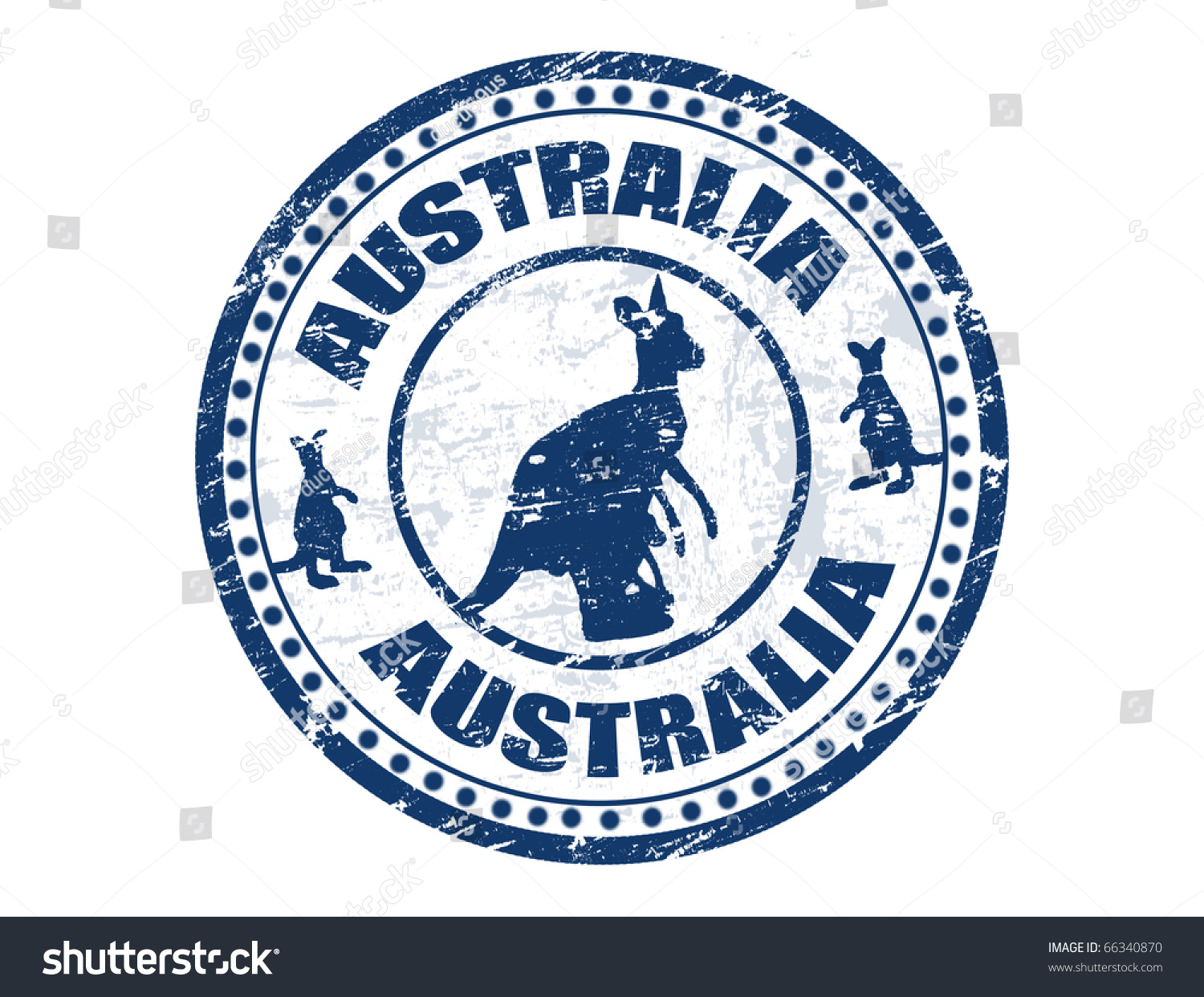 Grunge Rubber Stamp With Kangaroo Shape And The Text Australia Written Inside Vector