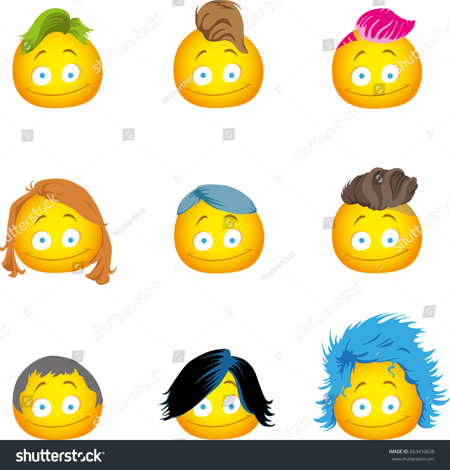 Hairy Emojis Several Hairstyles Stock Vector (Royalty Free) 4