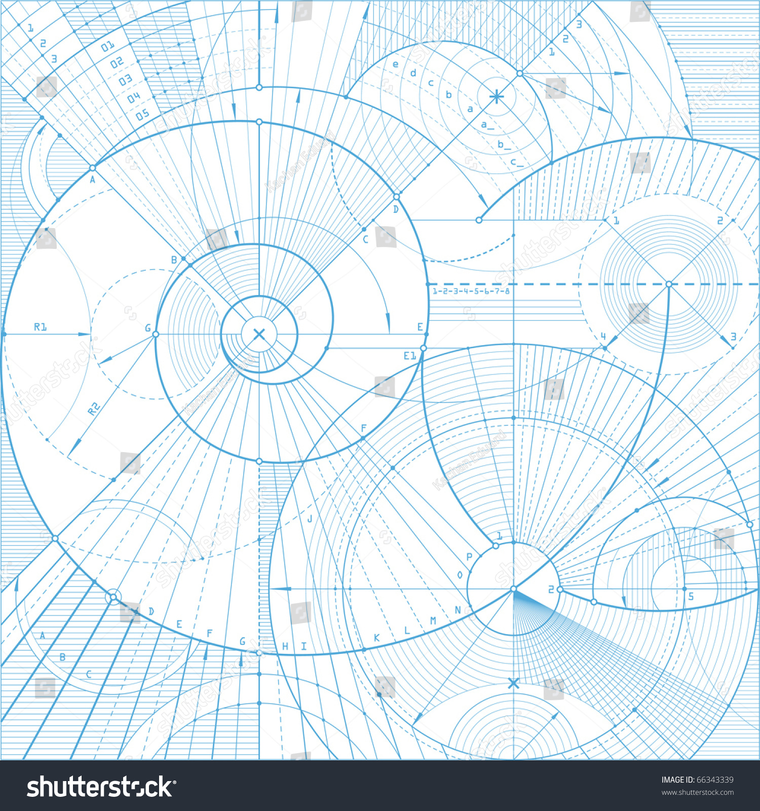 Vector Illustration Of A Technical Draft Background
