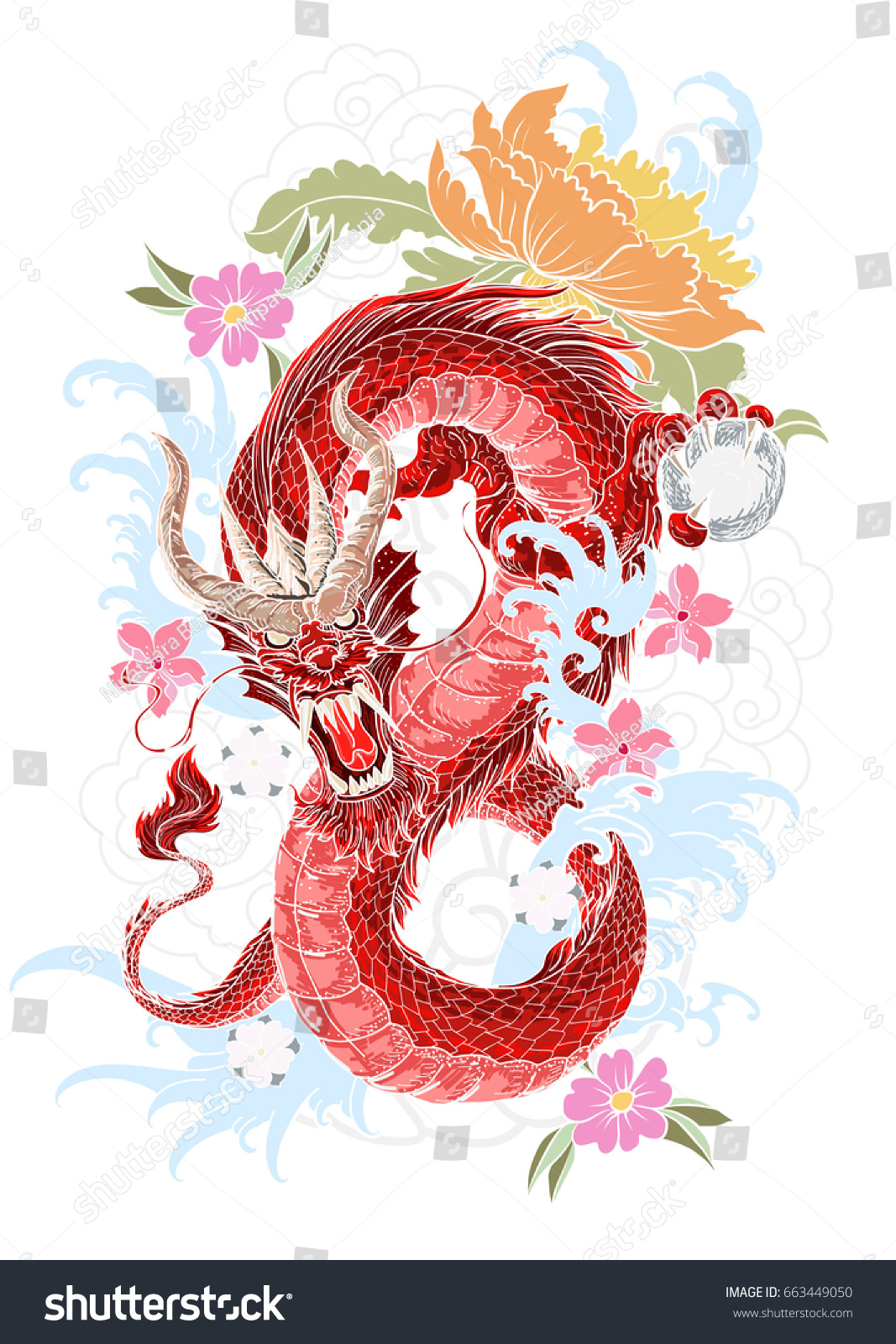 Hand Drawn Dragon Tattoo Coloring Book Stock Vector (Royalty Free ...