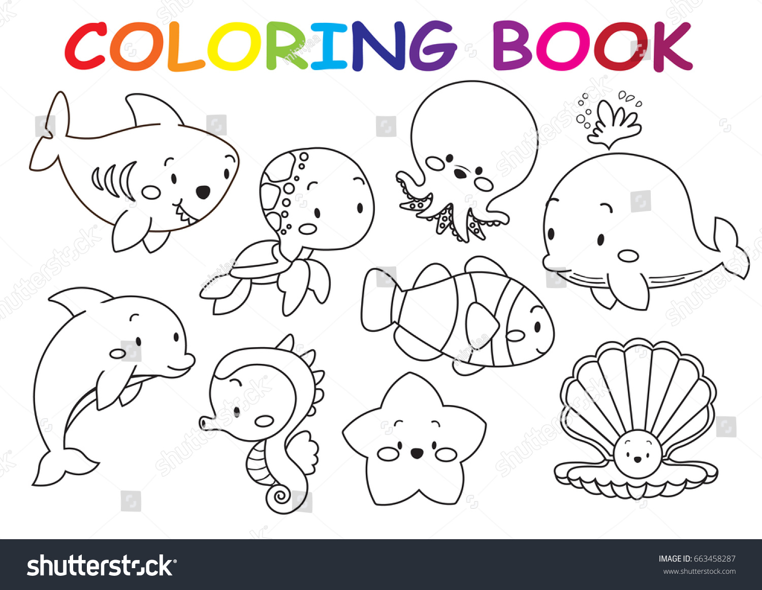 - Kids Coloring Page Collection Cute Sea Stock Vector (Royalty Free