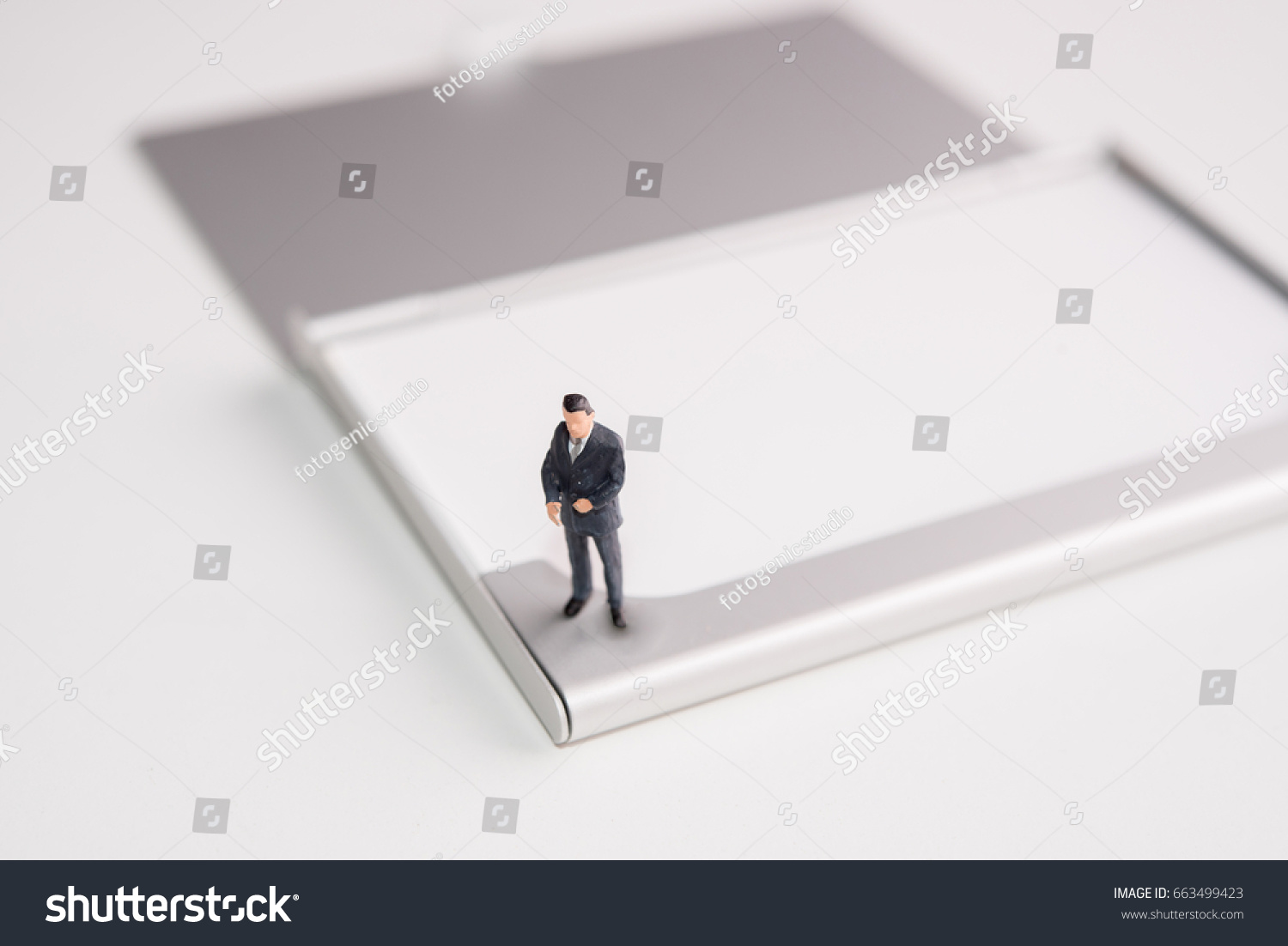 Miniature Figure Business Man Stand On Stock Photo 663499423 ...