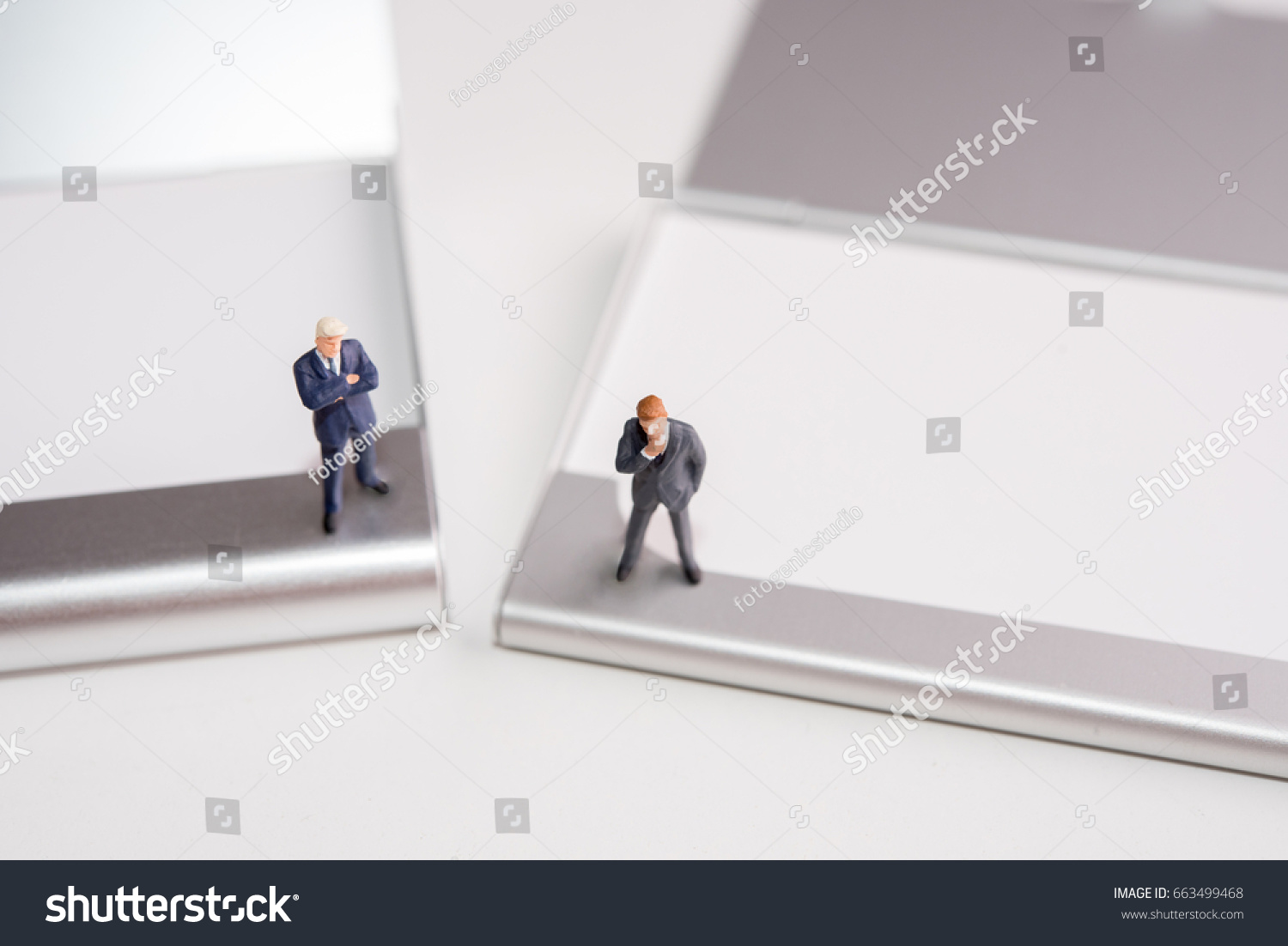 Miniature Figure Business Man Stand On Stock Photo 663499468 ...